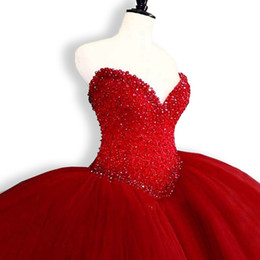 quinceanera dresses UK - 2018 New Hot Red Quinceanera Dresses Ball Gown Crystals Pearls Ruffles Tulle Lace Up Back Pageant Gowns For Girls Q46