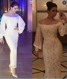 Wholesale Saudi Arabia Long Sleeves Lace Prom Dresses Off Shoulder Formal Sheath Ankle Length Party Gowns Evening Dress