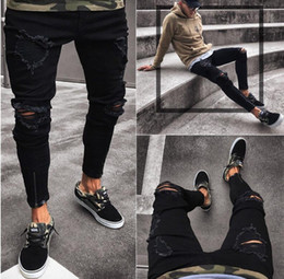 18cb6e5cc25a5 Discount mens patched distressed jeans - 2018 Newest Design Slim Fit Ripped  patch Jeans Hi-