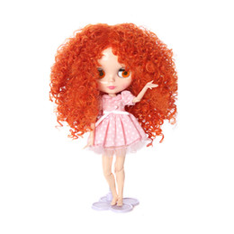 Chinese  New Arrivals Sweet Full Doll Wig Hairpiece Curly Hair 27-28cm for 1 6 Blythe Dolls Colorful Dolls Wigs Brick Dolls Accessories manufacturers