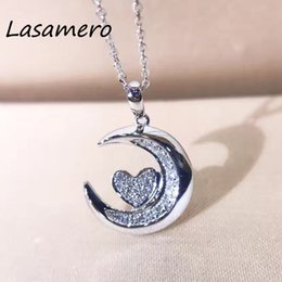 moon shaped gold pendant 2020 - LASAMERO Halo 0.09CTW Moon Shape Round Cut Pave Set 18k Gold Natural Diamond Pendant Necklace cheap moon shaped gold pen