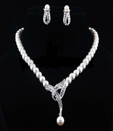 pearl sets Australia - Hot Sale Faux Pearls Earring Necklace Set Bridal Jewelry Holy White Rhinestone Crystal Women Party Prom Cocktail Party Jewelry In Stock