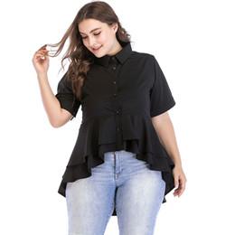 Women 5XL 6XL Plus Size Shirt Turn Down Collar Short Sleeve Asymmetric  Ruffles Hem Summer Blouses Solid Slim Button Blouse Tops 9f8546105539