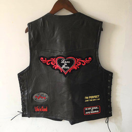Jacket patches punk online shopping - Cool Genuine Sheep Leather Punk Vest Concealed Carry Biker Vest with Patches Harley Motorcycle Jackets Men Casual Waistcoat Sleeveless Shirt