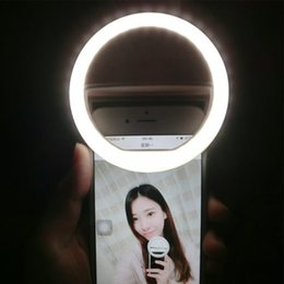 Ingrosso USB ricaricabile a batteria 4 livelli selfie light Led Camera Phone Fotografia Ring Light Miglioramento fotografia per iPhone Samsung