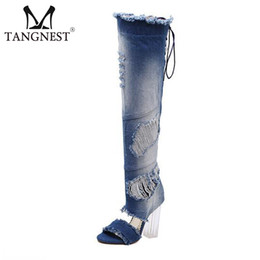 $enCountryForm.capitalKeyWord NZ - Tangnest Vintage Denim Over-the Knee Boots Fashion Transparent High Heels Peep Toe Washed Canvas Shoes Woman Size 34~40 XWX5839