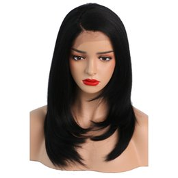 Chinese  Synthetic Kinky Straight Wig Short Bob Glueless Heat Resistant Short Natural Yaki Hair Wigs Synthetic For Black Women Baby Hair manufacturers