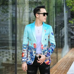 $enCountryForm.capitalKeyWord Canada - 2018 men clothing Hair Stylist GD Fashion personality Blue balloon jacquard weave Suit Stage performance singer costumes