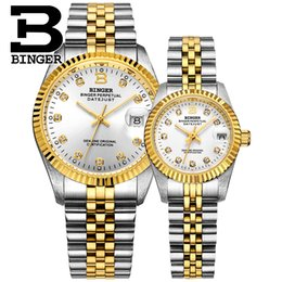 Binger Men Mechanical Watches Australia - Switzerland BINGER Couple Watch Men Automatic Mechanical Womens Watches Top Brand Luxury Lovers Wristwatch Sapphire reloj hombr