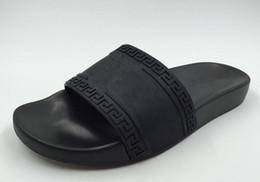 Chinese  2018 Medusas Men Beach Slide Sandals Scuffs Aq1Versace Leather Rubber Massage Slippers Mens Comfortable Medusa Summer Beach Sandal manufacturers