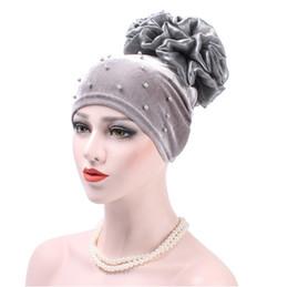 $enCountryForm.capitalKeyWord NZ - Muslim Women Stretch Velvet Pearl Flower Turban Hats Chemo Beanie Caps Bandana Hijab Pleated Wrap Cover Cap Hair Loss for Cancer
