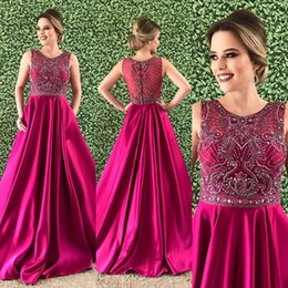 Fuchsia A-line Prom Dresses 2018 Sexy Jewel Long Prom Dresses Satin Evening  Gowns With Sparkly Crystals Beaded Bodice For Teens From 560643df8241