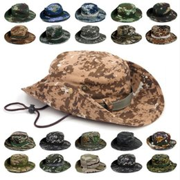 camo sports hats 2019 - Outdoor Sports Men & Women's Fishing Hat Camouflage Bucket Hat Fisherman Camo Ripstop Jungle Bush Hats Boonie Wide