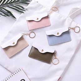 leather id card badge holder 2019 - 1PC Badge Key Ring Keychain Wallet Women Girl Stylish Leather ID Card Holder Card Bags 4Colors cheap leather id card bad