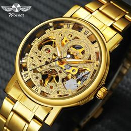 $enCountryForm.capitalKeyWord Australia - WINNER Fashion Business Golden Mechanical Watch Men Skeleton Dial Stainless Steel Strap Mens Watches Top Brand Luxury relogio C18111601