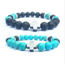 $enCountryForm.capitalKeyWord Australia - Cross Black Lava Stone Bracelet Aromatherapy Essential Oil Diffuser Bracelet Snowflake Spacer Men Women Stretch Jewelry