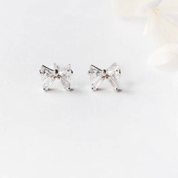 Wholesale Small Jewelry Mini Earrings Water Drill Ear Bone Nails Bow Tie Earrings Women s Sterling Silver Compact and Compact Korean Compact