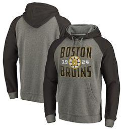 54fe1c4c5 Men s 2018 Boston Bruins Fanatics Branded Ash Timeless Collection Antique  Stack Tri-Blend Raglan Ice Hockey Pullover Hoodies Sweatshirts