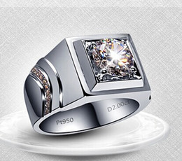 sona diamond men ring Australia - Absolutely Perfect 2 ct Round Cut SONA Synthetic Diamond Wedding Rings for Men 925 Sterling Silver 18K White Gold Plated Rings Free Shipping