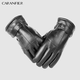men fur leather gloves NZ - CARANFIER Mens Sheepskin Gloves Genuine Leather Men Winter Outdoor Plus Velvet Warm Fur Thickening Thermal Patchwork Wool Gloves S1025