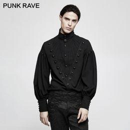 eeec2e30 PUNK RAVE Gothic Men Gorgeous Folding Long Lantern Sleeve Blouse Men  Steampunk Vintage Dress Shirt Stripes Christmas Party Shirt