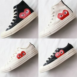 All stAr cAnvAs shoes online shopping - 2018 New s Canvas Skate Shoes Classic Canvas All Star Women Mens Jointly Name CDG Play Big Eyes Heart Casual Sneakers