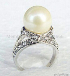 Sea Shell Rings Australia - FREE SHIPPING >>>White South Sea Shell Pearl White STONE Ring Size: 6.7.8.9