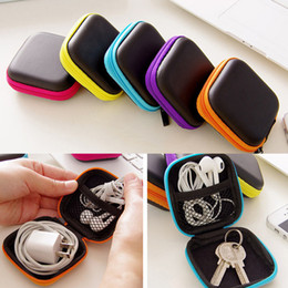 $enCountryForm.capitalKeyWord UK - Hot Mini Zipper Hard Headphone Case Portable Earbuds Pouch box PU Leather Earphone Storage Bag USB Cable SD Card Portable Coin Purse