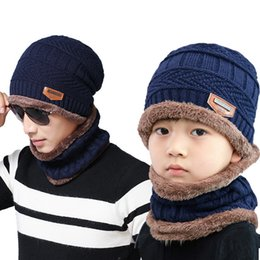 Hats Scarves Sets Australia - Laamei Solid Knit Beanies Hat Scarf Plus Velvet Winter Hat Man Woman Warm Thicken Hedging Cap Ski Soft Scarves Scarf Set