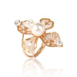 $enCountryForm.capitalKeyWord Australia - Women Adjustable Multilayer Layers Pearl Ring wiht Rhinestone Hollow Flowers Spiral Finger Ring