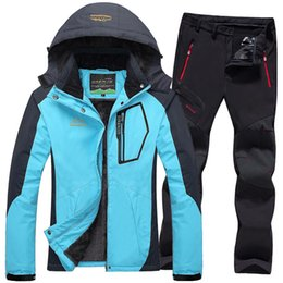 8594f9b0be4e6 Ski Jacket suits Women Waterproof Fleece Snow Jackets Thermal Coat Outdoor  Mountain Skiing Snowboard Jacket Pants Plus Size