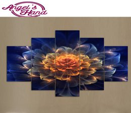 modern abstract flower paintings 2019 - 5pcs 5d Diy Diamond Painting Colored flowers Cross Stitch Modern Diamond Embroidery Crystal Diamond Mosaic Picture Needl