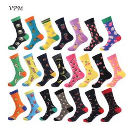 Wholesale VPM Colorful Cotton Men Socks Funny Food Pineapple Pizza Hamburger Beer Chili Skate Harajuku Happy Socks for Christmas Gift