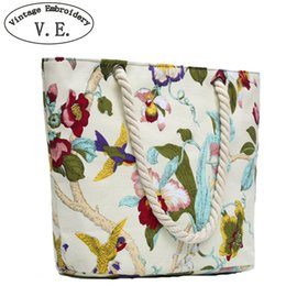 large canvas floral tote bags NZ - Vintage Embroidery Women Handbag Beach Bag Floral Bird Printed Canvas Shoulder Bag For Lady Single Shoulder Bag Shopping Totes D18102303