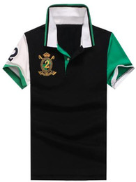 $enCountryForm.capitalKeyWord NZ - Factory Male Casual Polo Shirts Patchwork Cotton Men Polos With Big Pony Turn-Down Collar Number 2 Tops Green Black