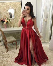 arabic red evening dress Australia - Sexy Side Slit Prom Dresses Long Deep V-Neck Arabic Red Carpet Dresses Satin Spaghetti Straps Backless Blue Formal Evening Gowns Dresses