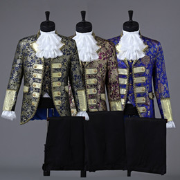 Renaissance faiRy costumes online shopping - prince royal three color mens period costume Medieval suit stage performance Prince charming fairy William civil war Colonial Belle stage