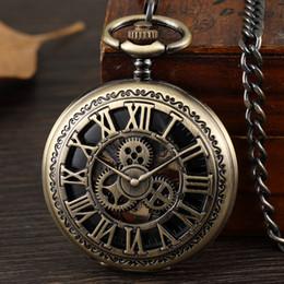 $enCountryForm.capitalKeyWord Australia - 1 Pcs Relogio Masculino Bronze Steampunk Gear Men's Fob Chain Mechanical Pocket Watch For Brithday Xmas Gift
