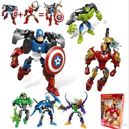 iron man block figure Canada - Marvel building blocks 20cm Avenger Figures Toys Batman Hulk Spiderman Iron man Captain America Superman Puzzle Blocks Toys