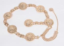 Retrato de la reina de lujo cinturones de cintura de metal decorativos para mujer partido de las señoras cintura elástica vestido de oro vestido de moda cadena de la correa en venta