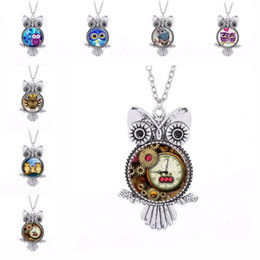 $enCountryForm.capitalKeyWord UK - Vintage Silver Punk Owl Frame Time Gem Owl Glass Cabochon Necklace Owl Pendants Chain Fashion Jewelry for Women Kids Gift