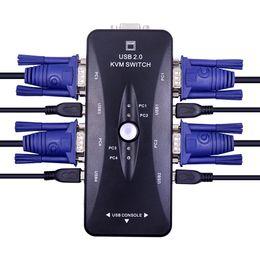 4-портовый USB 2.0 KVM-переключатель VGA / SVGA Splitter Box Адаптер селектора концентратора 1920 x 1440 Подключение принтера Клавиатура Мышь Монитор