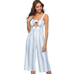 Sexy Wide Strap Bras Australia - Women's Sexy Spaghetti Strap Striped High Waist Wide Leg Calf-Length Pants Fashion Hollow Bra Tops