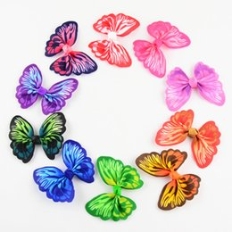 $enCountryForm.capitalKeyWord Australia - 2.4 Inch Printed Butterfly Ribbon Hair Bow Without Clips Diy Girls Hair Accessories 10 Color U Pick Headwear 100pcs Lot