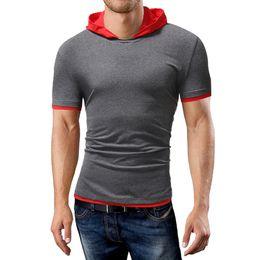 Discount popular clothing brands men - New 2018 Men's brand clothing t shirt male Popular Slim short - sleeved t shirt hooded design casual style Tees men