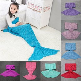 Children Bedding Wholesale Europe Australia - Quilt fleece Mermaid blanket For Bed tail throw plush plaid On sofa Bed fluffy bedspreads knitted children and adult blanket