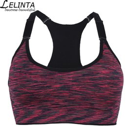 f73aae4f2 LELINTA Women Top Sports Bra Blue Green Red Purple Gray Yoga Fitness  Wireless Running Vests with Padded Push Up Workout