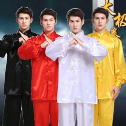 Discount martial arts uniforms - Unisex Wushu Clothing Martial Arts Faux Kung Fu Suit Men Tai Chi Uniform Taijiquan Costume Wing Chun Wushu Performance C