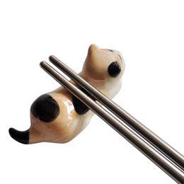$enCountryForm.capitalKeyWord UK - Japanese Style Ceramic Chopsticks Holder Stand Cute Cat Design Chopstick Rack Pillow Care Rest Kitchen Art Craft Tableware