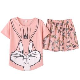 Sexy Lovely Cartoon UK - 2018 Summer Pijamas Women lovely rabbit Cartoon Pajamas Shorts Set Female Cute Sexy Night Suit Cotton Sleepwear big yard M-XXL